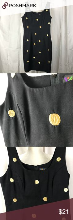 "VINTAGE Bouillabaisse Deborah Polka Dot Dress Black with gold embroidered polka dots. Zip up back. Polyester/rayon. Flat measurements: bust 18"", waist 15"", hip 19"", length 36"". Vintage Dresses Mini"
