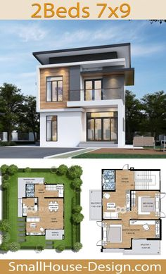 House design idea meter feet 2 Bedrooms - Home Ideas Dream House Plans, Small House Plans, 2 Bedroom House, Small Modern Home, Roof Colors, Big Windows, Sims House, Small House Design, House 2