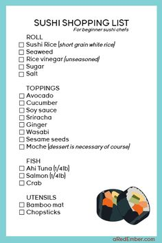Planning on making sushi at home? Here is a shopping list of everything you will need for a couple delicious rolls.