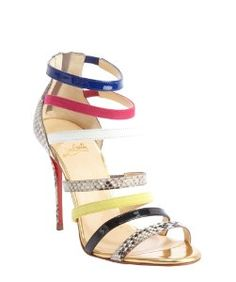 Christian Louboutingold leather 'Mariniere 100' multi-color embossed accent open toe sandals