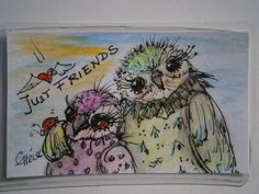 Taschenkunst Eulenfreunde Original Miniatur von kunstpause auf DaWanda.com