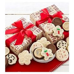 Merry and Bright Cookie Gift Boxes Cookie Gift Boxes, Cookie Gifts, Chocolate Caramels, Chocolate Cookies, Chocolate Chocolate, Cut Out Cookies, Buttercream Frosting, Merry And Bright, Gingerbread Cookies