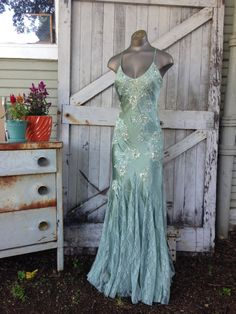 Gorgeous bias cut silk gown Vintage beaded mermaid dress size 4 Cache' slinky evening gown by melsvanity on Etsy