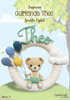 "Pattern ""Theo Bear - Wreath"" Amigurumi PDF (English and Portuguese-BR) Crochet Baby Mobiles, Crochet Baby Toys, Crochet Bear, Crochet Animals, Baby Kranz, Do It Yourself Baby, Crochet Wreath, Crochet Hook Sizes, Easy Crochet Patterns"
