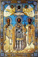 Васильев В.: Икона Святые Александр Невский, Тит и Поликарп в окладе