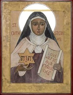 Liturgy recalls for us an important century woman, scholar and convert, Saint Teresa Benedicta of the Cross. She is known in history as Edith Stein . Catholic Saints, Patron Saints, Roman Catholic, Catholic Art, Religious Icons, Religious Art, Religious Pictures, St Edith Stein, Maria Goretti