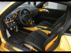 porsche cayman yellow and black interior