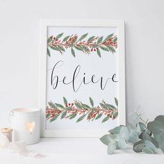 Believe Typography Christmas Wall Art Print – Jetty Home Christmas Doodles, Christmas Wall Art, Christmas Holidays, Christmas Cards, Christmas Decorations, Wall Decorations, Merry Christmas, Wall Art Decor, Wall Art Prints