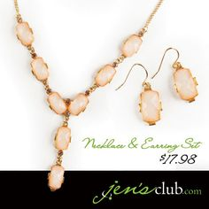 "Necklace & Earring Set  From Regal     Embrace your feminine side with soft pink faceted stones and warm gold-tone setting. Classic Y shape necklace sits at the collarbone with matching drop earrings to complement any outfit. Necklace has lobster clasp closure. (Necklace: 21""L plus 2-1/2"" extender. Earrings: 1""L)  Product Number - JC1009"
