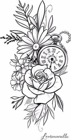 rose daisy flower clock tattoo design Tattoo Design - Laurenceveillx - rose daisy flower clock tattoo design Tattoo Design – Laurenceveillx You are in the right place ab - Clock Tattoo Design, Floral Tattoo Design, Tattoo Floral, Flower Tattoo Designs, Tattoo Style, Pencil Art Drawings, Mandala Tattoo, Tattoo Sketches, Flower Tattoo Drawings