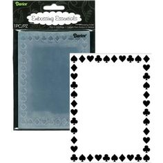 Darice A2 Embossing Folder PLAYING CARDS BORDER Spades Clubs Diamond Hearts Card Suits Suites Games Background Scrapbooking Sizzix Cuttlebug Poker party
