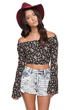 Floral Bell Sleeve Crop Top |PacSun