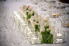 long tulip and candle centrepiece