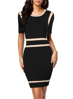 Miusol Womens Scoop Neck Optical Illusion Busniess Bodycon Dress #clothes