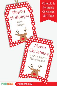Printable Christmas Gift Tags for Kids - Editable Christmas Teacher Tags, Personalized Christmas Labels, Holiday Tags Template, To From Tags Christmas Tag Templates, Christmas Gift Tags Printable, Christmas Labels, Christmas Printables, Cars Birthday Invitations, Printable Invitations, Party Printables, Party Invitations, Holiday Gifts