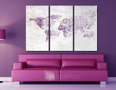 Bright hip colors world map wall canvas gallery wrap adhesive wall blown away world map wall canvas gallery wrap adhesive wall color purple gray by wallmac on gumiabroncs Choice Image