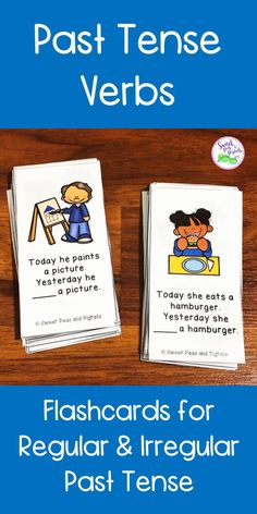 Target past tense verbs in speech therapy with these flashcards! Packet includes 90 flashcards and targets both regular and irregular past tense verbs. These cards are also perfect for describing actions and using the present progressive -ing