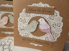 Engagement Card Wedding card Handmade, Whimsical Personalised Birds Vintage Lace