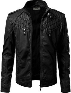 iDarbi Mens Prime PU Leather Skinny Fit Rider Jacket at Amazon Men s  Clothing store  Men s 620b3a7f06ae0