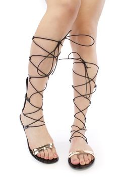 d0faedf4fb9c Lace Up Metallic Leg Wrap Thong Self Tie Flat Gladiator Flat Sandals ...