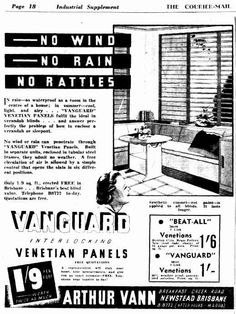 Vanguard Blinds Advertisement - The Courier Mail (Brisbane) 1940 Wind And Rain, No Rain, Brisbane, Blinds, Advice, History, Historia, Tips, Shades Blinds