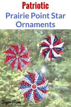 Sew a bunch of these gorgeous Patriotic Prairie Point Star Ornaments to hang in your house from Memorial Day through to Independence Day and even beyond the of July. The ornaments are an easy sew project made with charm squares. Patriotic Crafts, July Crafts, Americana Crafts, Patriotic Party, Patriotic Wreath, Sewing Basics, Sewing Hacks, Sewing Patterns Free, Free Sewing