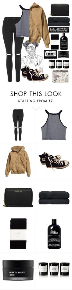 """""""My mind takes me places that my legs never could"""" by xxkatiehemmingsxx ❤ liked on Polyvore featuring Topshop, H&M, Converse, MICHAEL Michael Kors, J.Crew, philosophy, Koh Gen Do and Byredo"""