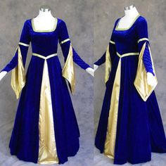 Medieval Renaissance Gown Dress Costume Blue Gold Wedding for sale online Renaissance Wedding Dresses, Medieval Gown, Medieval Wedding, Renaissance Costume, Renaissance Clothing, Renaissance Fashion, Royal Blue Dresses, Dress Up, Gown Dress