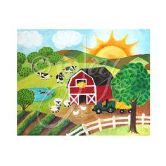 """Tagesanbruch auf dem Bauernhof - 8 """"x 10"""" Wall-Art-Print - Nursery Room Decor - Farm Themed Kunst für Kinder"""