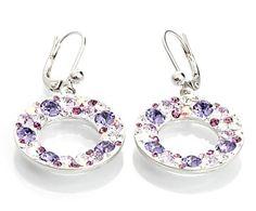 Pendientes de rodio y cristales Swarovski, violeta - Ø24 mm