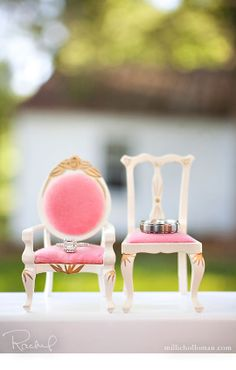 Pink vintage chairs... what an ADORABLE wedding ring photo!