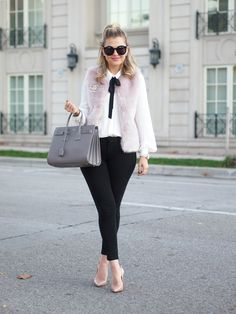 11.15 pink & fluffy (Topshop faux fur gilet vest in powder pink + Chanel pin + Express tie-neck blouse + GAP stovepipe pants + nude Louboutin pumps + Saint Laurent bag + Karen Walker sunnies + Loren Hope earrings & cuff + The Horse watch)