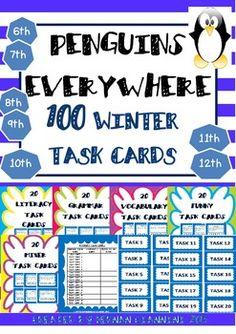 WINTER THEMED TASK CARDS- 100 TASK CARDS FOR ELEMENTARY STUDENTS - TeachersPayTeachers.com