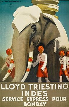 By Marcello Dudovich (1878-1962), ca 1938,  Lloyd Triestino/ Indes. (I)