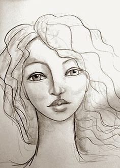 Adventures in Fiber Doodle Paint, Drawing Conclusions, Mixed Media Artwork, Drawing Techniques, Face Art, Woman Face, Art Tutorials, Art Girl, Pencil Drawings