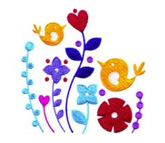 Free Embroidery Design: Birds in Flowers - I Sew Free