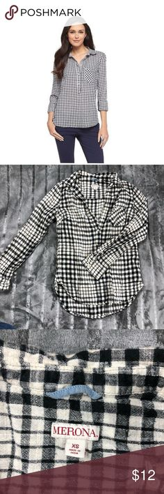 Merona Plaid Shirt Condition: Very good. No stains, rips, or odors. Minimal signs of previously being worn. Please view listing pictures & additional questions are always welcomed. All items are honestly presented to the best of my knowledge, and are stored in a non-smoking environment. No returns Merona Tops