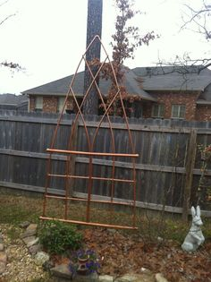 Faux copper trellis made from PVC.