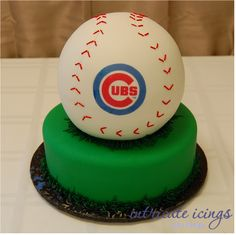 """Baseball Cake....joes groom cake... with two bottom teirs of green...with NO CUBS emblem...instead """"Game Over: Joe&Rachael"""""""