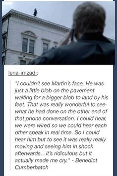 Benedict's Reaction to Martin's Acting During the Fall --- so awesome
