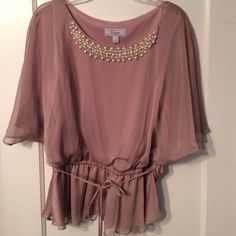 Dress Shirt with Pearls Worn once; 100% Polyester Dress Barn Tops Blouses