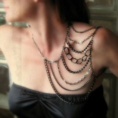 A badass shoulder harness body chain in an edgy tier of gunmetal black finish. The aluminum chains make this piece ultra lightweight and comfy to wear. Diy Jewelry, Jewelry Accessories, Fashion Accessories, Jewelry Design, Jewelry Making, Chain Jewelry, Silver Jewelry, Shoulder Jewelry, Shoulder Necklace
