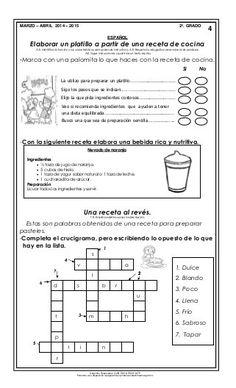 Material de apoyo_mzo_abril_14-15_segundo Crossword, Second Grade Books, Crossword Puzzles