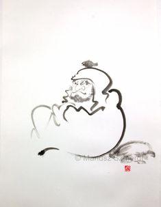 "Master and a bird Daruma Zen Bodhidharma buddhism ink painting 22""x15"" monk birds"