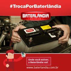 Na Baterlândia você não fica na mão nem por um segundo. Liga pra gente que trocamos sua bateria sem custo de serviço. #JustoPeloJusto #TrocaPorBaterlândia#AgoraVai