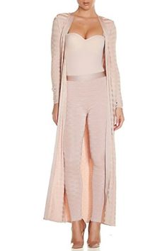Whoinshop Womens Rayon Bandage Maxi 2 Pieces Sets Pants Leggings and Jackets Nude M *** You can find more details by visiting the image link.