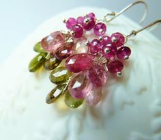 Watermelon Tourmaline silver earrings. October by TatianaG on Etsy