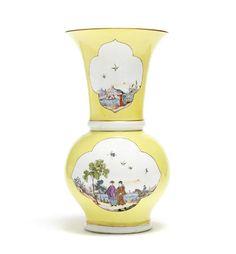A Meissen yellow-ground Augustus Rex vase, circa 1730-35