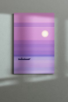 An adorable flat-design landscape with the sea, and boat. Minimalistic and stylish, the poster looks eye-catching with its calm harmonious colors and simple lines.  The canvas art print would become an extraordinary decoration for a modern interior. See more marvelous prints in the Digital art collection! Simple Lines, Color Of The Year, Flat Design, Deep Purple, Canvas Art Prints, Ultra Violet, Color Trends, Modern Interior, Digital Art