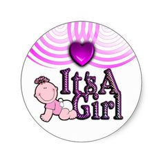 Its A Girl Checked Pink Text w/Baby Sticker Sheet